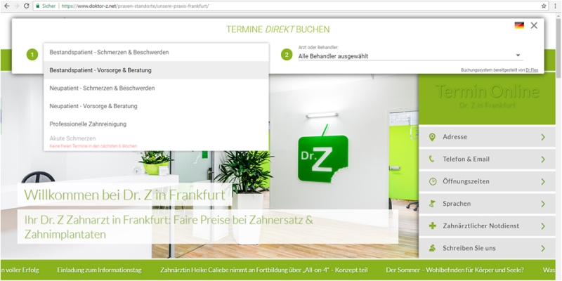 Online Terminkalender für Dr. Z Praxis in Krefeld